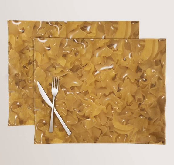 egg noodles printed on placemats